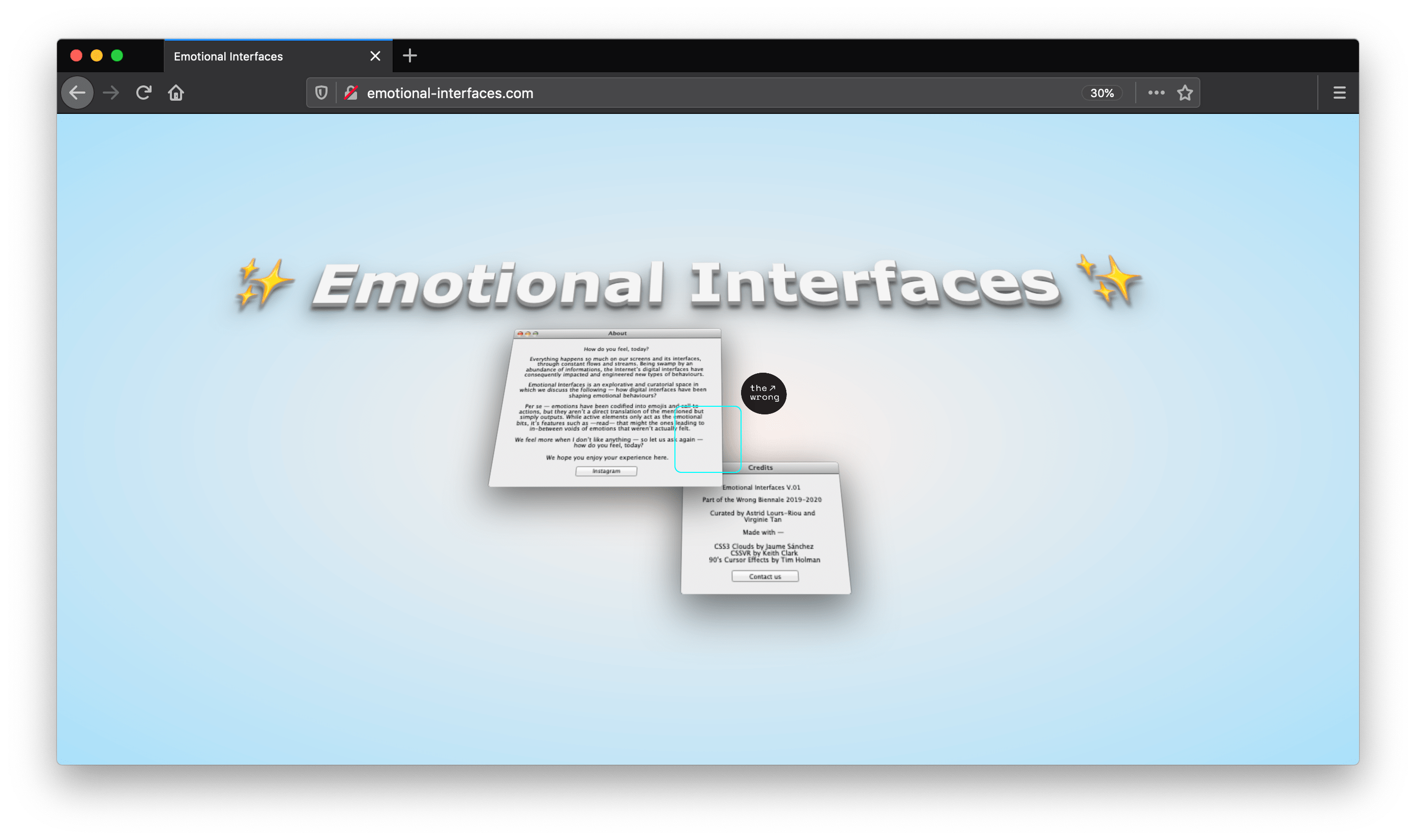 Picture of Emotional Interfaces' online exhibition
